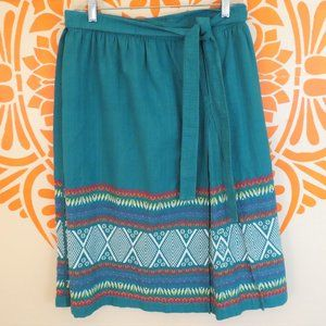 Vintage Guatemalan Turquoise Embroidered Skirt M